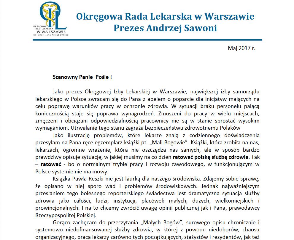 Zdjęcie listu Prezesa Andrzeja Sawoniego do parlamentarzystów