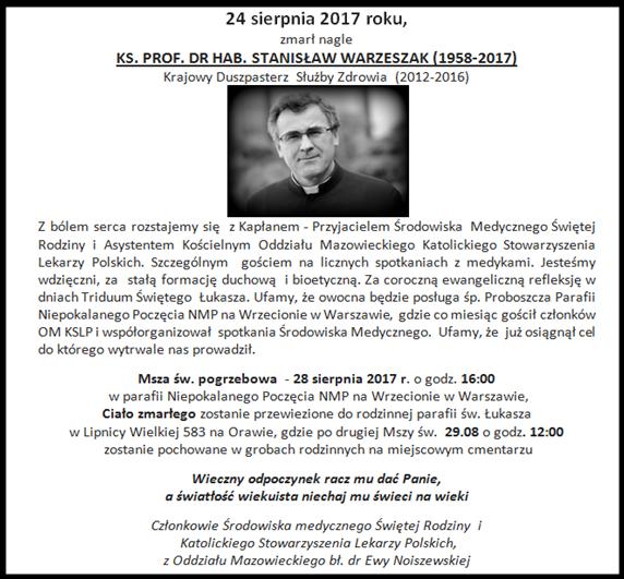 Pożegnanie śp.ks Stanisława Warzeszaka